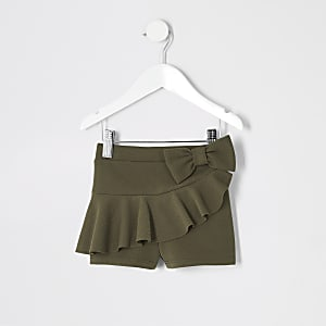 Mini girls khaki frill shorts