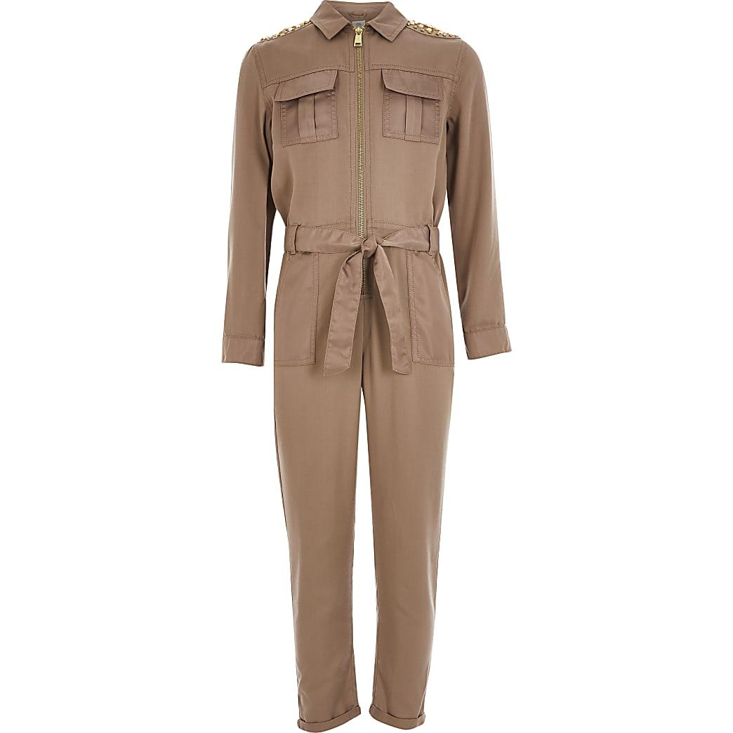 Girls beige embellished satin jumpsuit