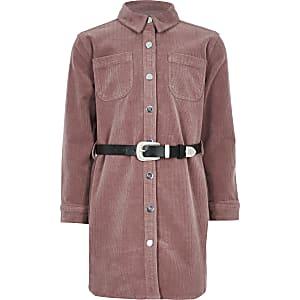 Robe chemise rose en velours côteléavec ceinture western pour fille
