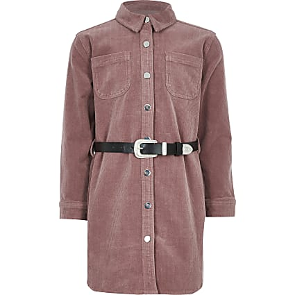 Girls pink cord western belted shirt dress