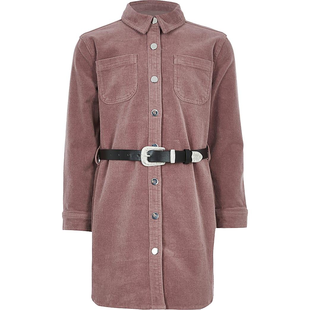 Girls pink cord western belted shirt dress