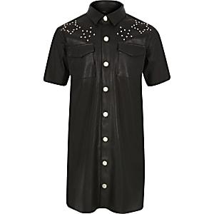 Schwarzes Blusenkleid aus Kunstleder mit Nieten für Mädchen