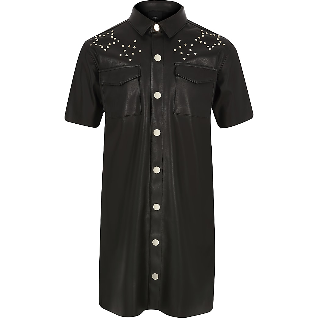 Girls black faux leather studded shirt dress