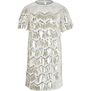T-Shirt-Kleid mit Pailletten in Silber für Mädchen