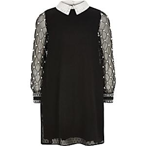 Schwarzes Kleid mit Kragen und langem Ärmel mit Perlen für Mädchen