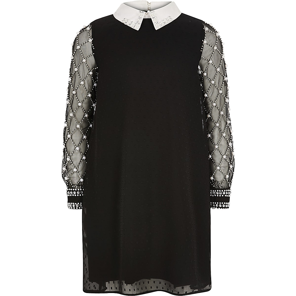 Girls black long pearl sleeve collar dress