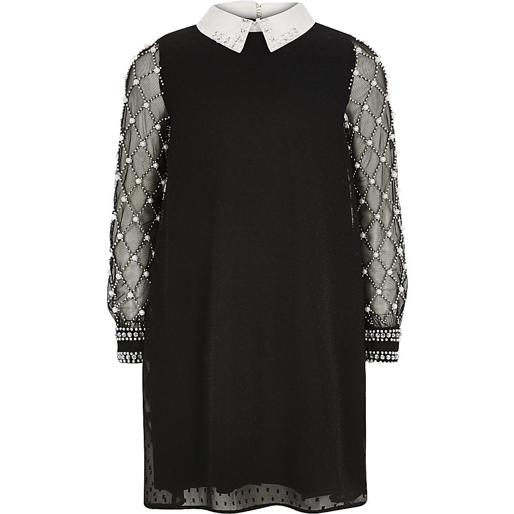 Girls black long pearl sleeve collar dress
