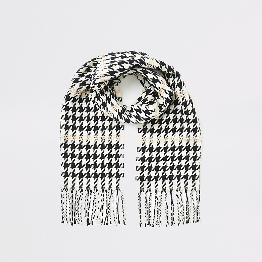 Girls black dogtooth contrast stitch scarf