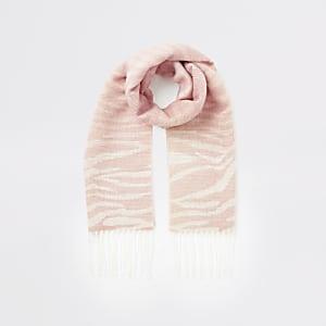 Écharpebeige à imprimé zèbre pour fille