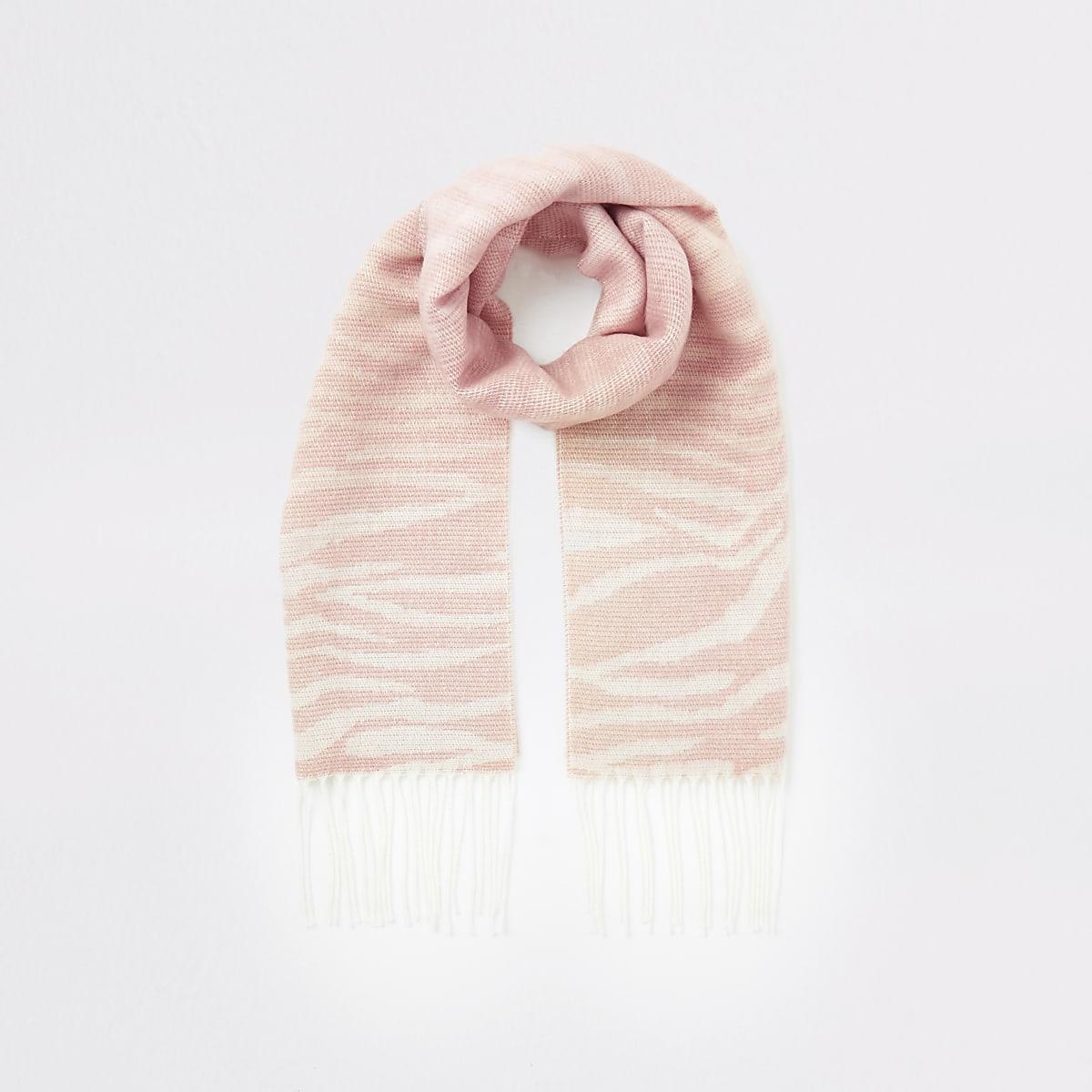 Girls beige zebra print scarf