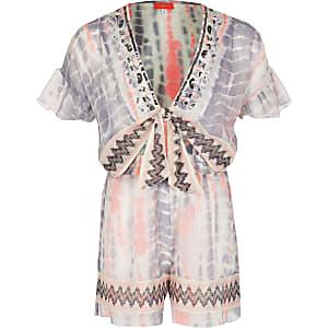 Combi-short blanc tie-dye avec découpes pour fille