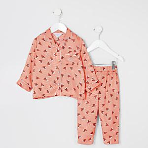 Mini - Koraalrode satijnen pyjama set met hartenprint voor meisjes
