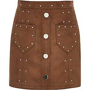 Bruine rok van imitatiesuède met studs voor meisjes