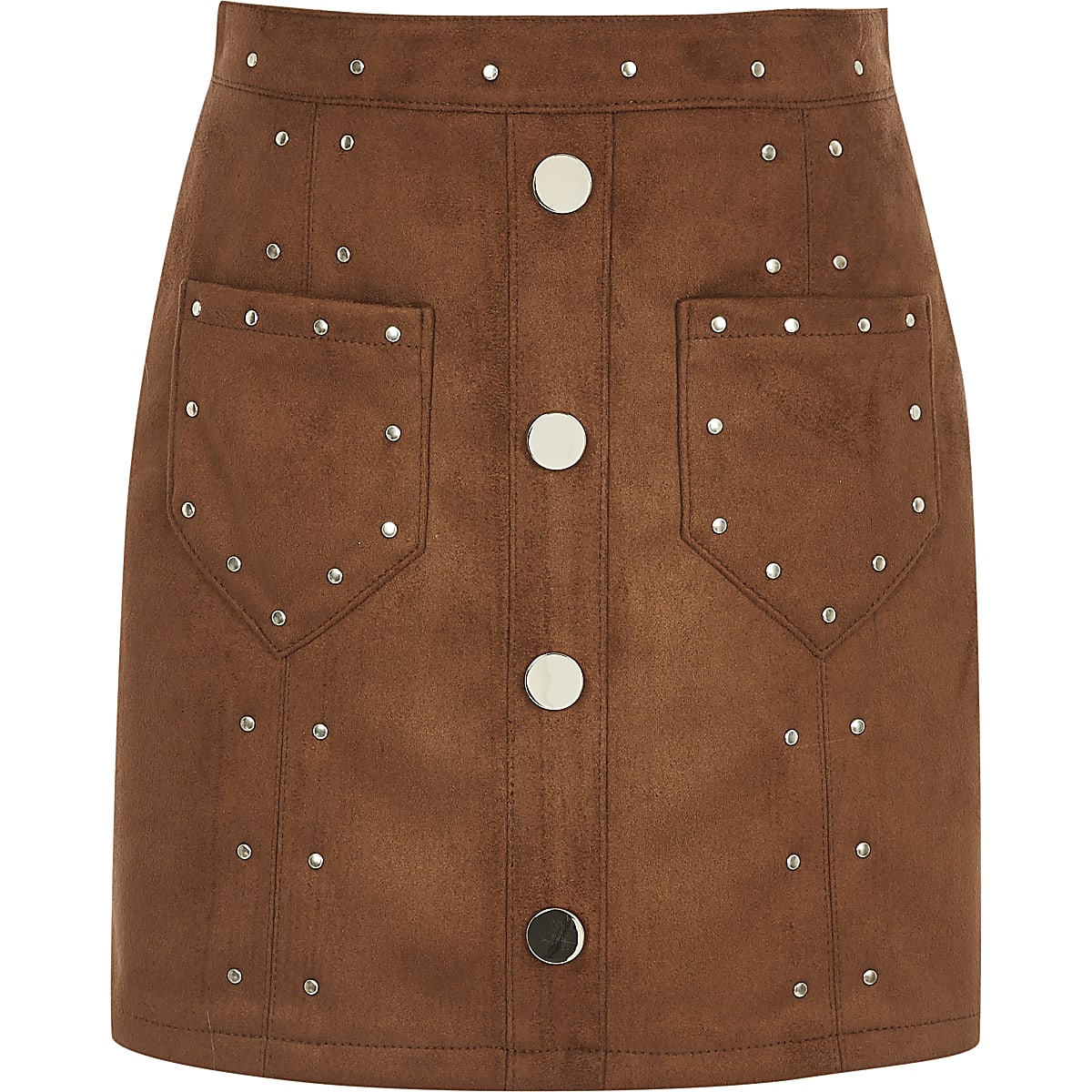 Girls brown faux suede studded skirt