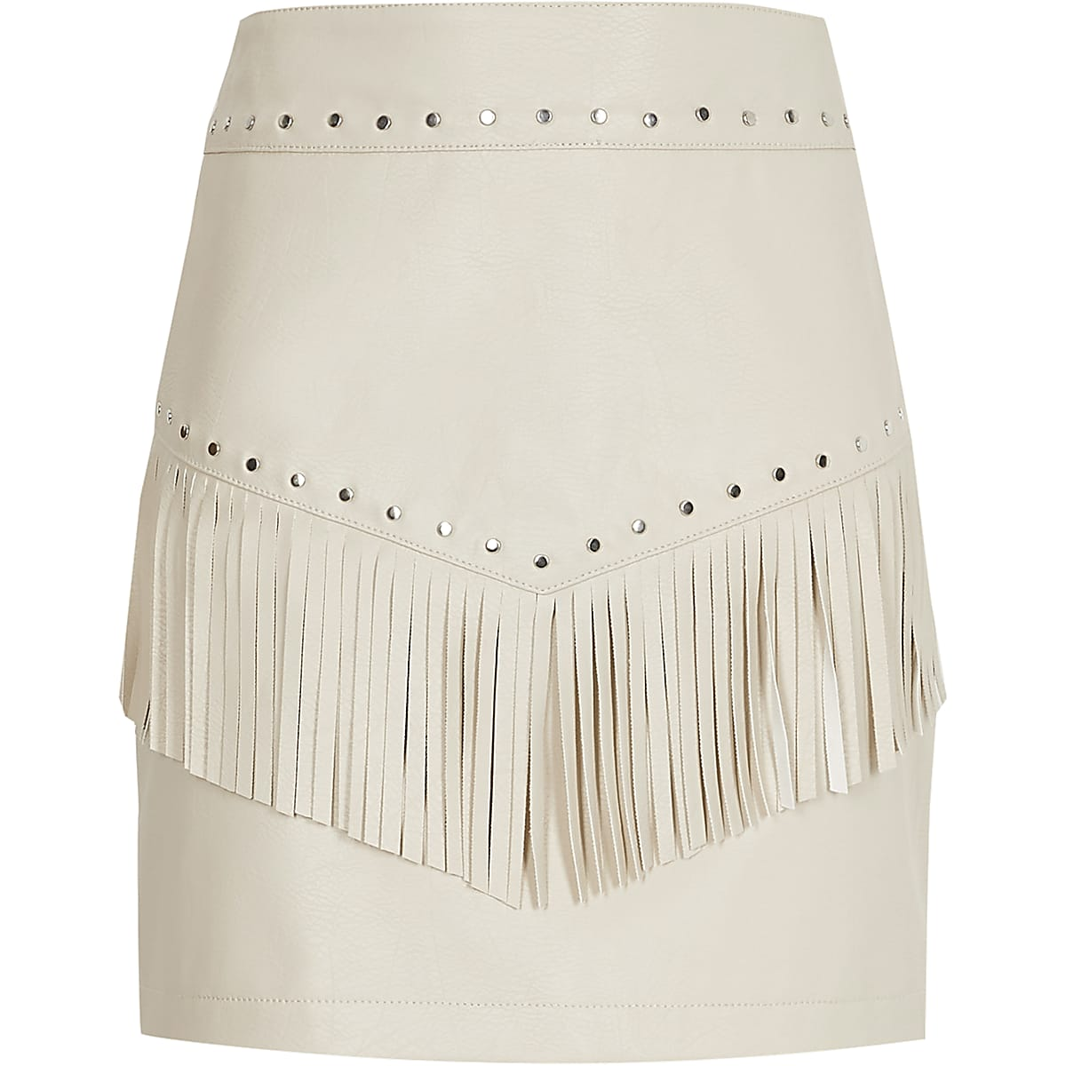 Girls cream faux leather tassel stud skirt