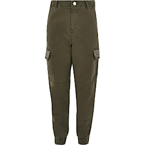Kaki verfraaide utility broek voor meisjes