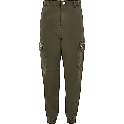 Girls khaki embellished utility trousers