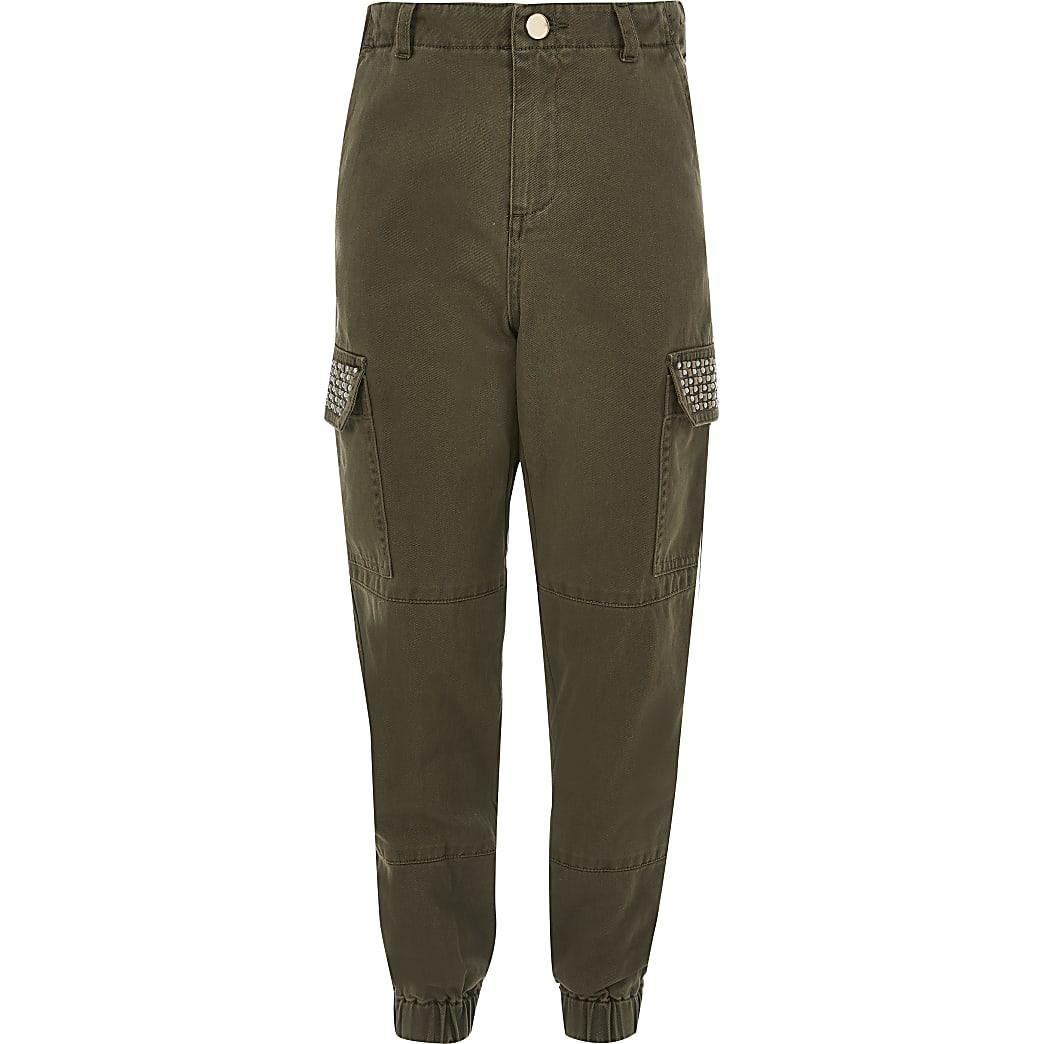 Girls khaki embellished utility trousers