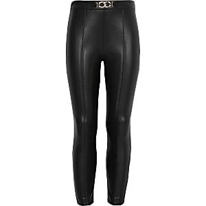Pantalons en cuir synthétiquenoir pour fille