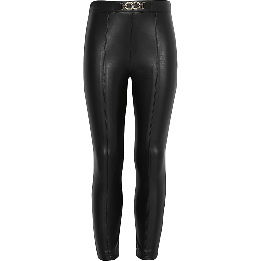 Girls black faux leather trousers