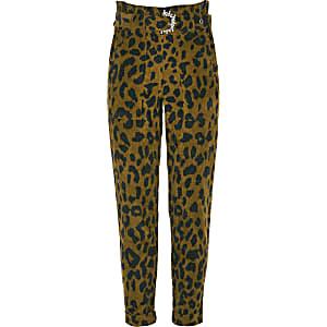 Bruine corduroy broek met luipaardprint voor meisjes
