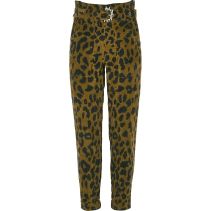Girls brown leopard print cord trousers