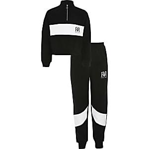 Schwarzes RVR-Sweatshirt-Outfit mit Colour-Block für Mädchen