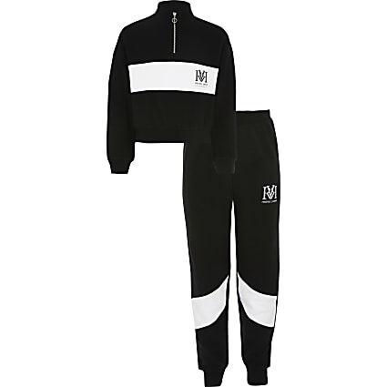 Girls black RVR blocked sweatshirt outfit