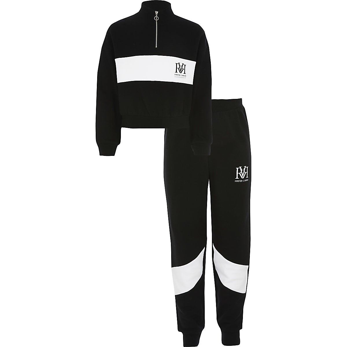 Girls black RVR blocked sweatshirt outfit