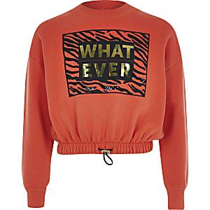 Sweatcourt rouge avec imprimé« what ever » pour fille