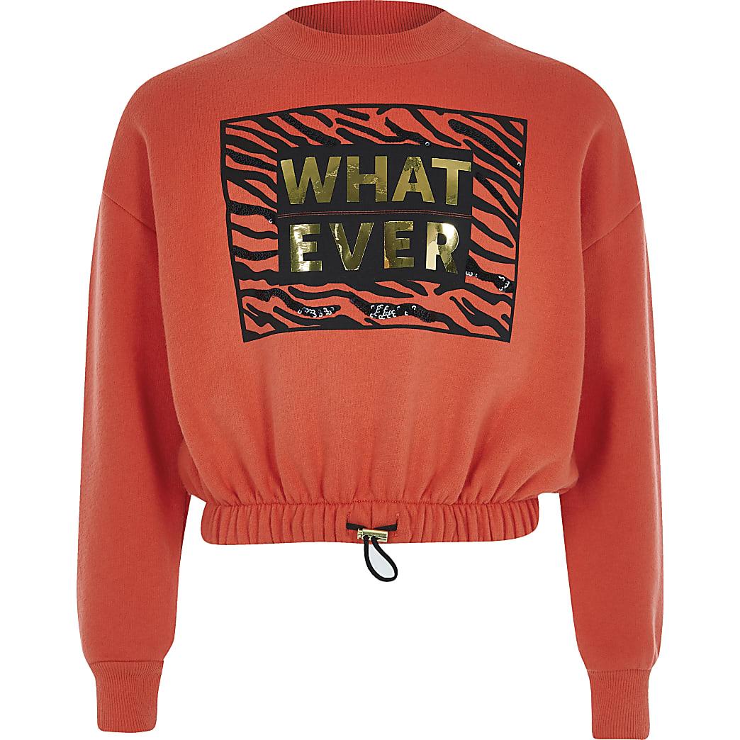 Girls red 'what ever' print crop sweatshirt