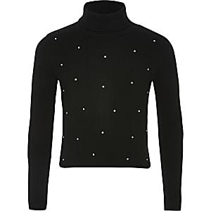 Schwarzes T-Shirt im Rippenstrick mit Rollkragen und Strassbesatz für Mädchen