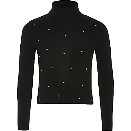 Girls black diamante roll neck ribbed T-shirt