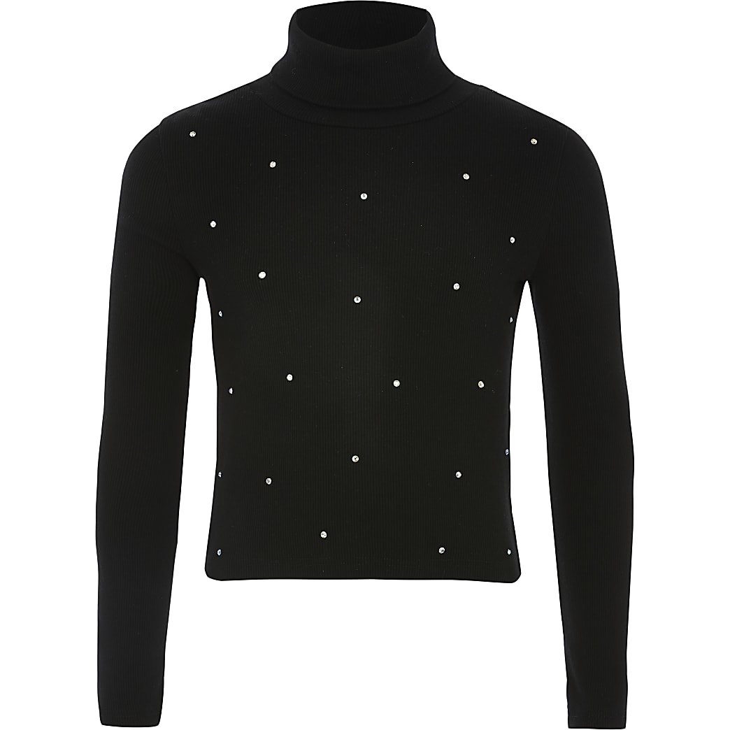 Zwart geribbeld T-shirt met col en siersteentjes voor meisjes