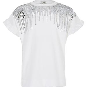Weißes T-Shirt mit Fransen und Paillettenverzierung für Mädchen