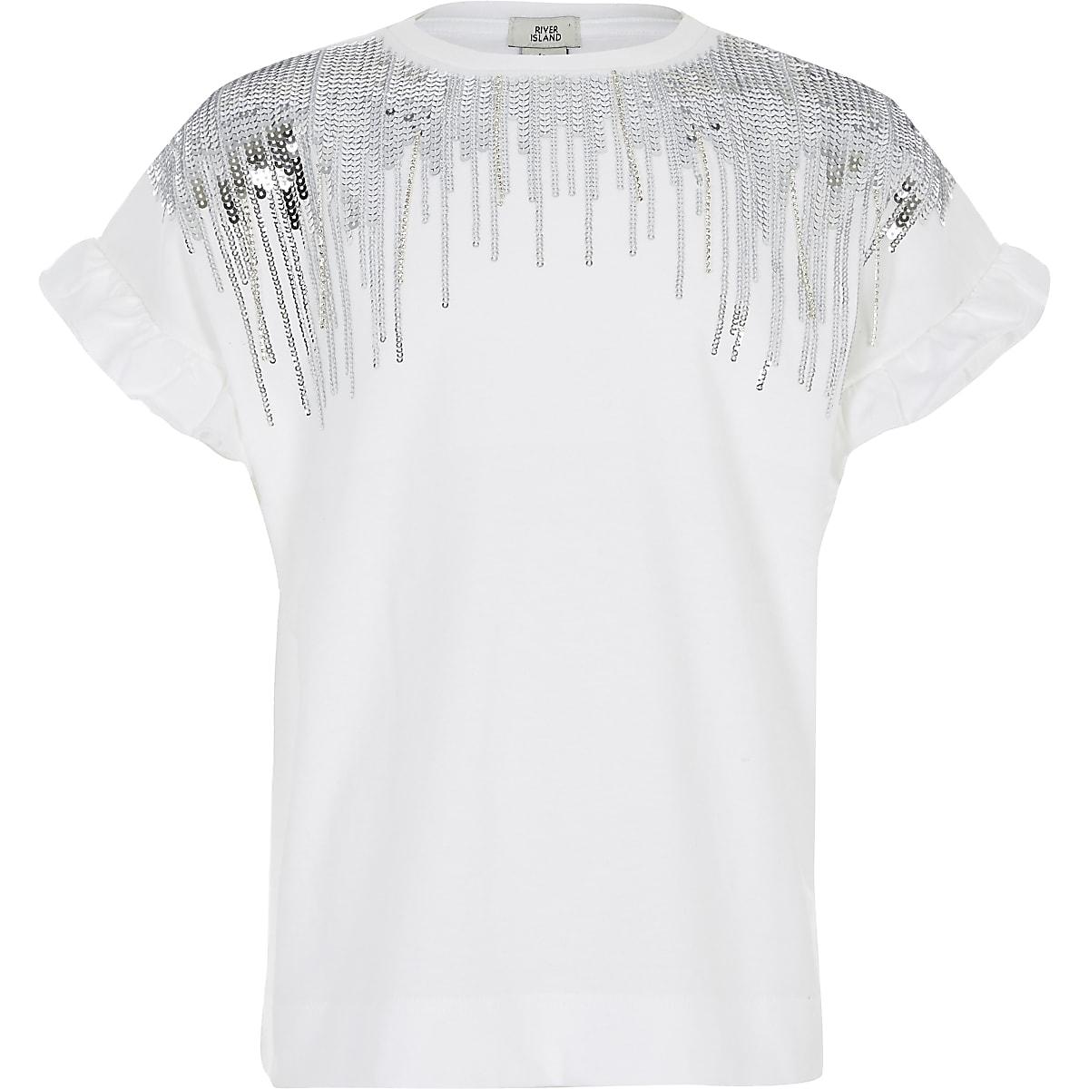 Wit met pailletten verfraaid T-shirt met franje voor meisjes