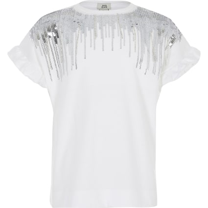 Girls white sequin embellished fringe T-shirt