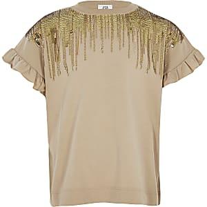 T-shirt marron avec franges à sequins pour fille