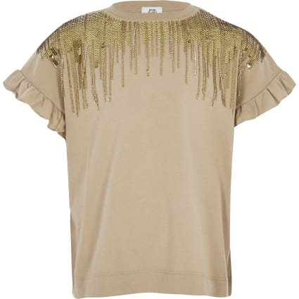 Girls brown sequin embellished fringe T-shirt