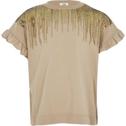 Girls brown sequin embellished fringe T-shirt