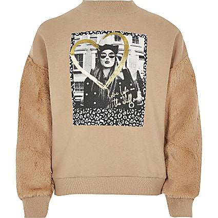 Girls beige print faux fur sleeve sweatshirt