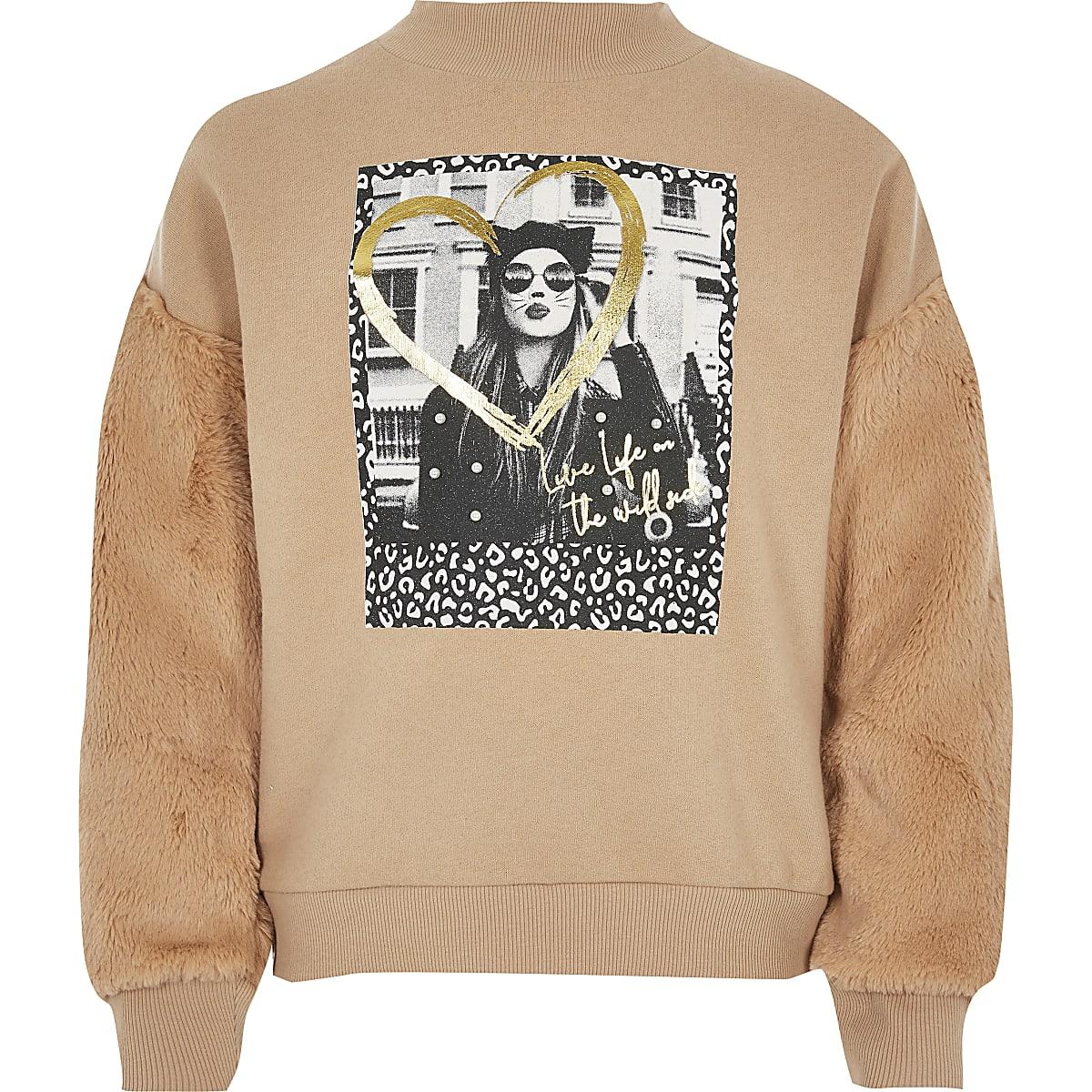 Girls beige print faux fur sleeve sweatshirt
