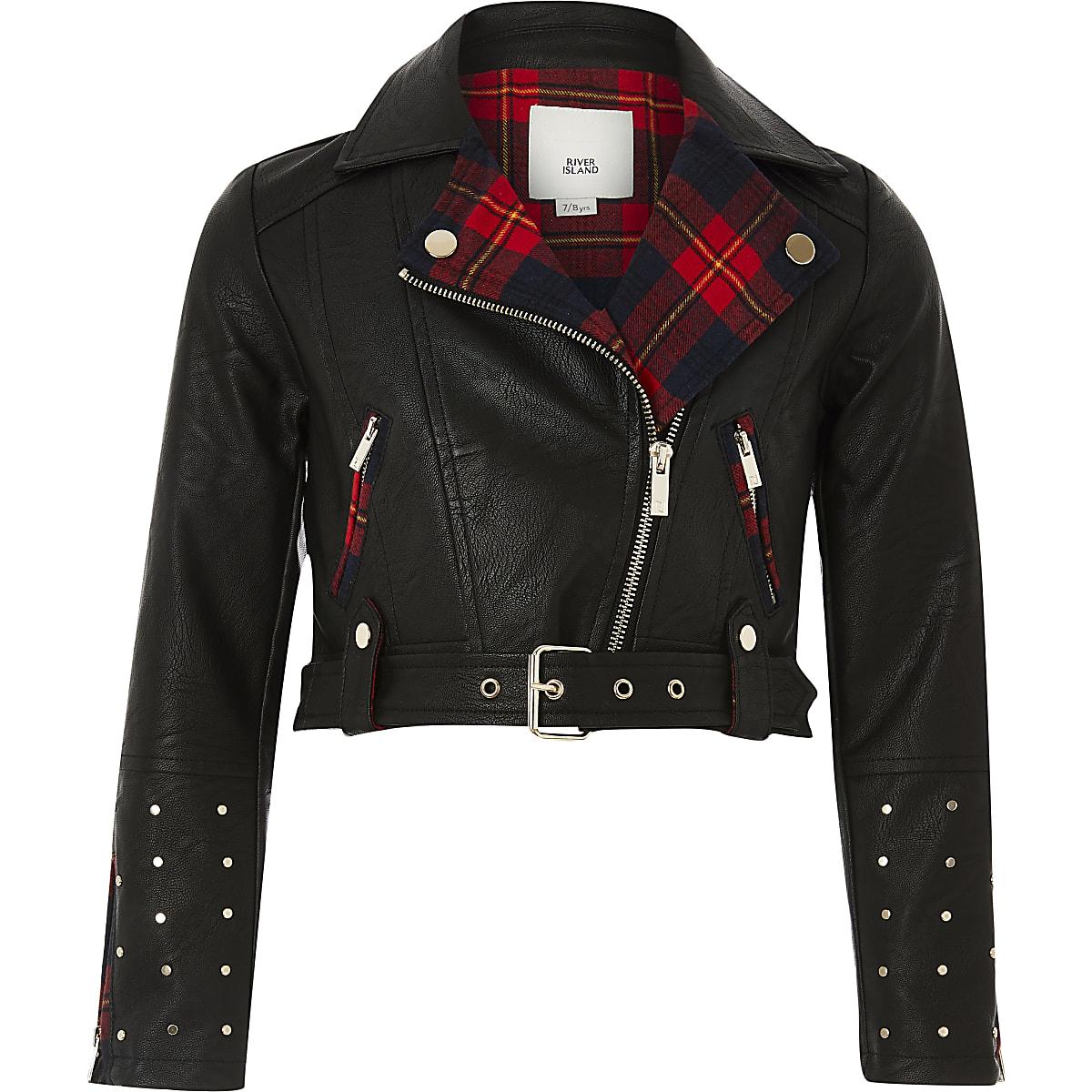 Girls black faux leather tartan biker jacket