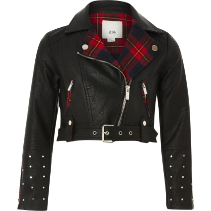 Girls black faux leather tartan biker jacket