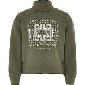 Sweatshirt in Khaki mit Rollkragen und Print für Mädchen