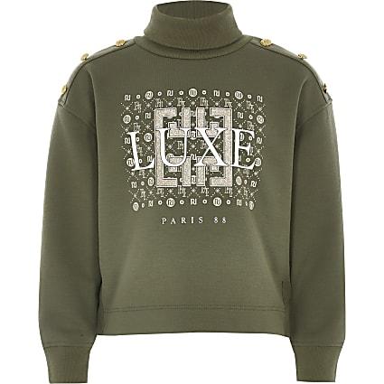 Girls khaki printed roll neck sweatshirt