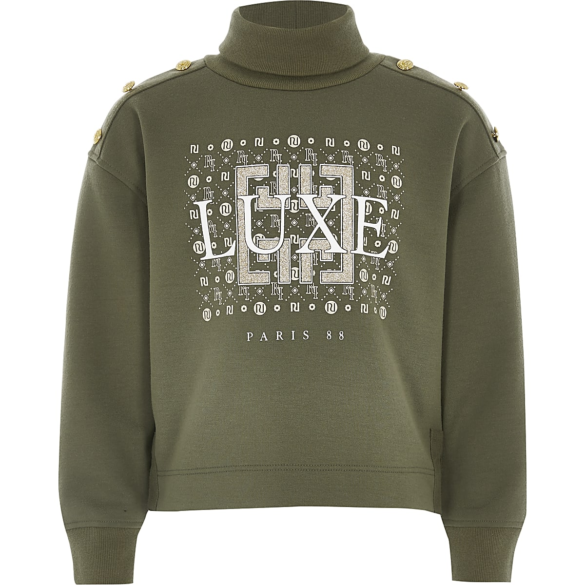 Girls khaki printed roll neck sweatshirt