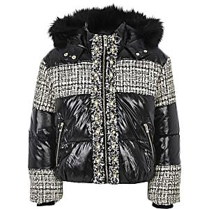 Manteau matelassénoir ultra brillant avec empiècementsen maille bouclée pour fille