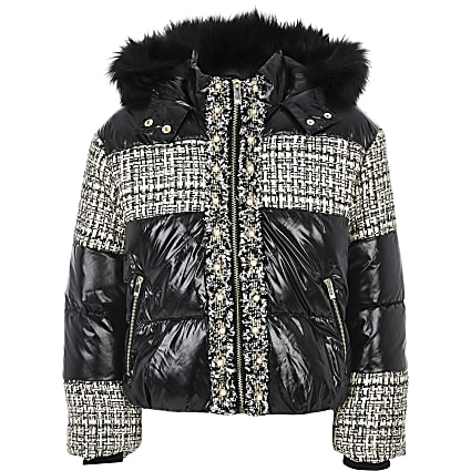 Girls black boucle high shine padded coat