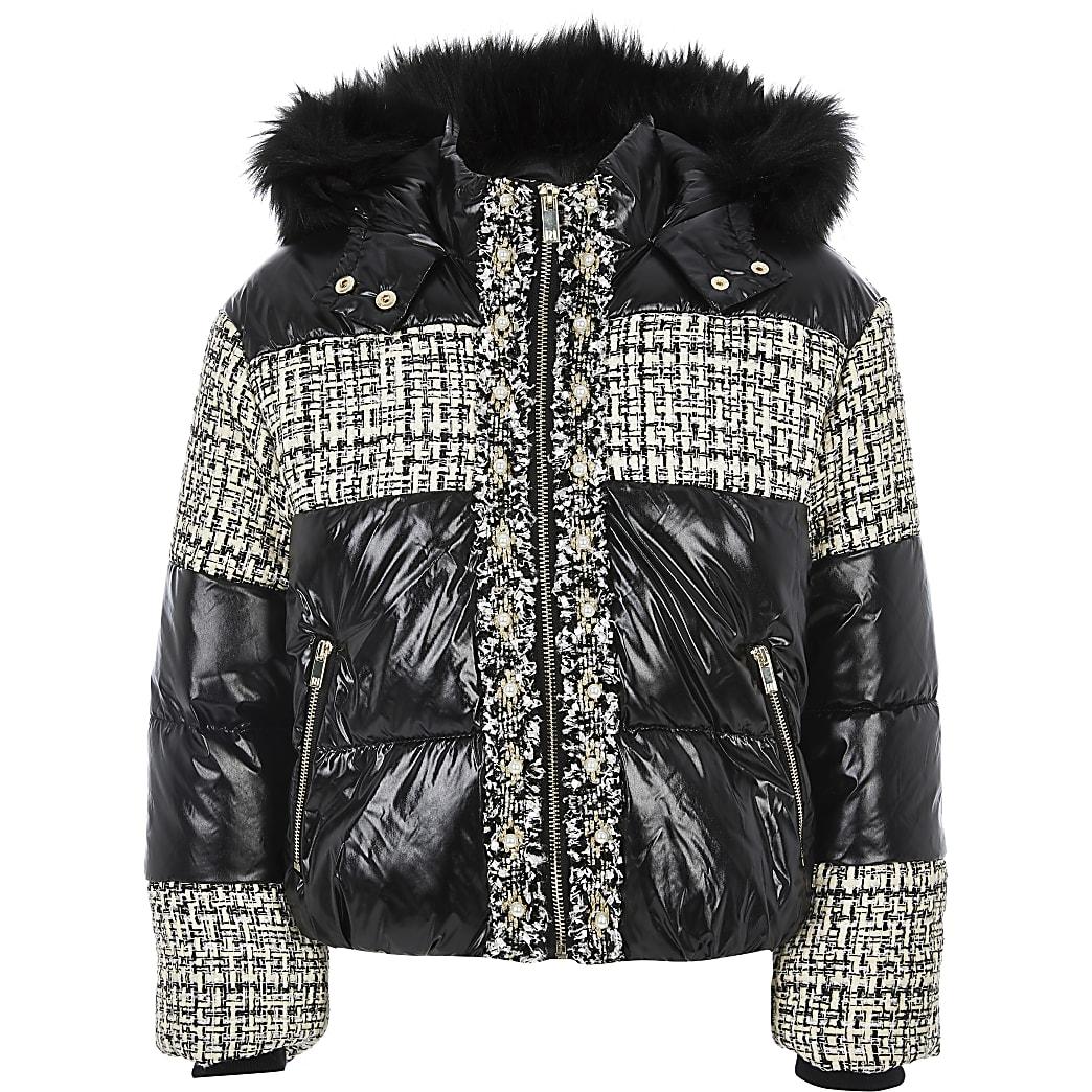 Girls black boucle high shine padded coat
